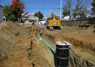 Travaux d'excavation pour le stationnement Proxim